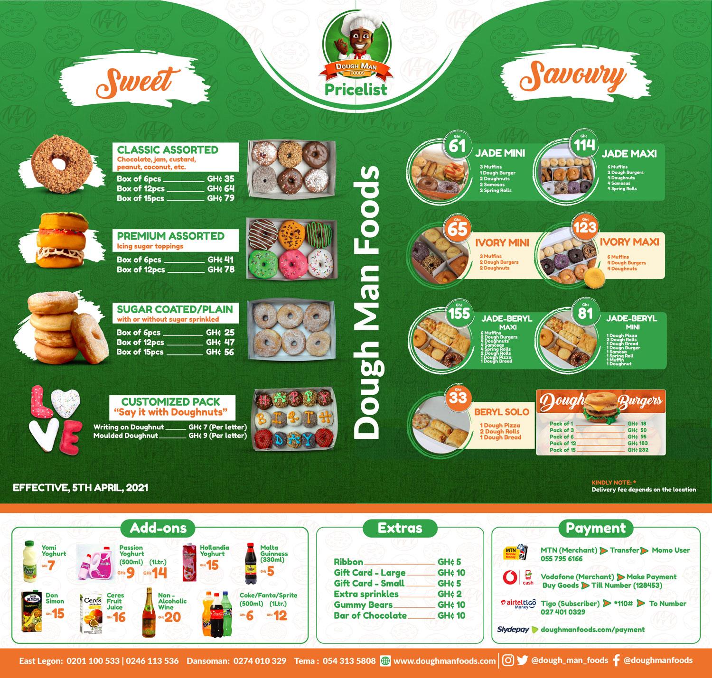 Dough Man Foods Pricelist Menu Prices